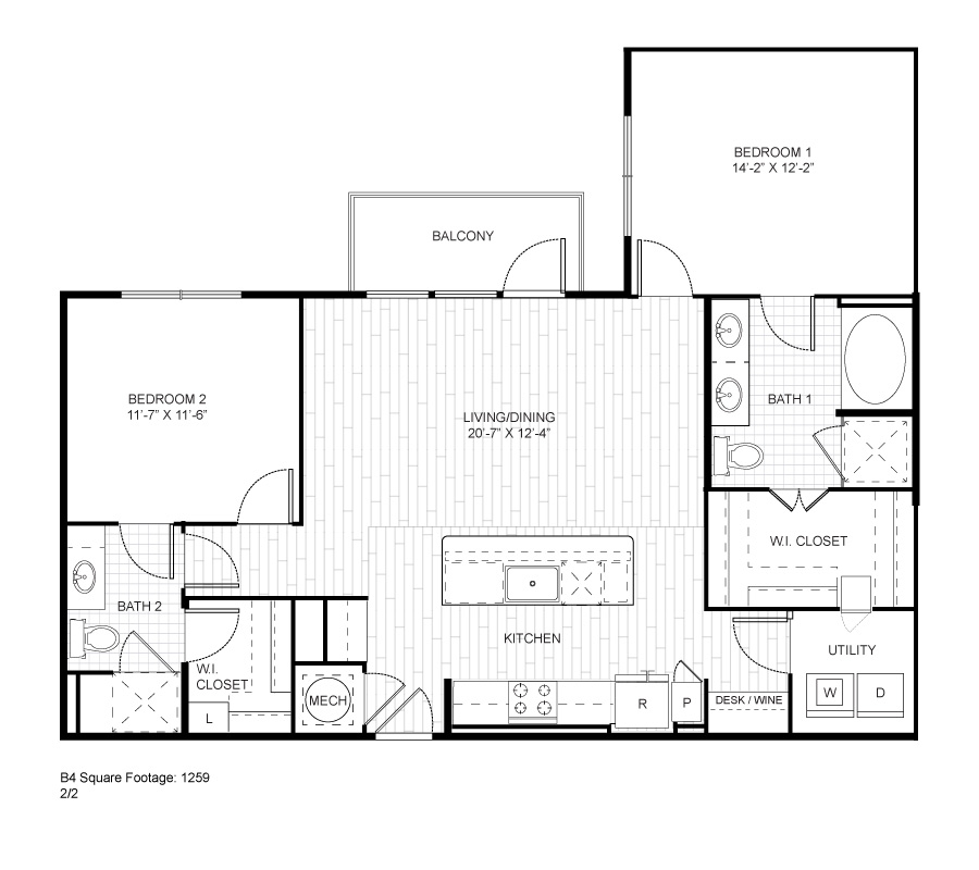 1,259 sq. ft. B4 floor plan