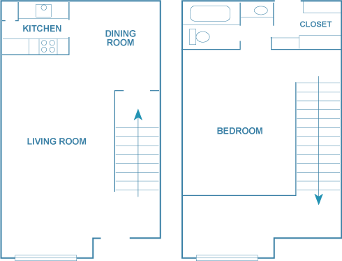 800 sq. ft. A1T floor plan