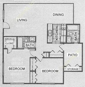 1,129 sq. ft. C1 floor plan