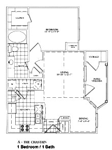 720 sq. ft. A-CHASTAN floor plan