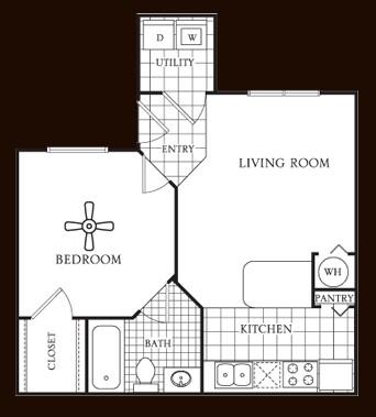 524 sq. ft. Aspen floor plan