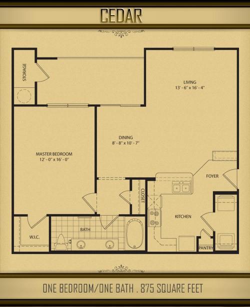 875 sq. ft. CEDAR floor plan