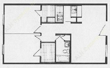 870 sq. ft. B3 floor plan