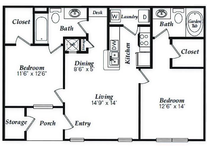 985 sq. ft. to 1,107 sq. ft. B1 floor plan