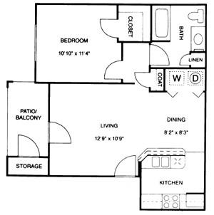 650 sq. ft. floor plan