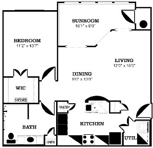 934 sq. ft. C floor plan