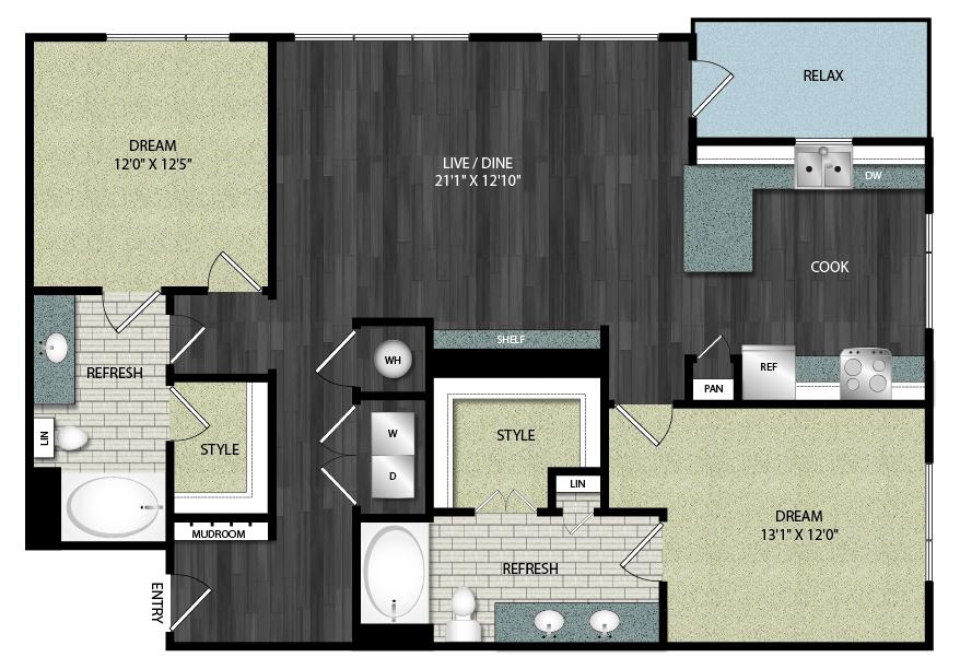 1,339 sq. ft. B3 floor plan
