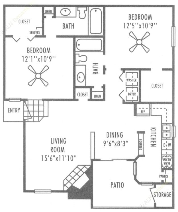 920 sq. ft. B1 floor plan