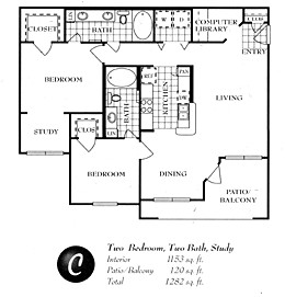 1,154 sq. ft. C floor plan