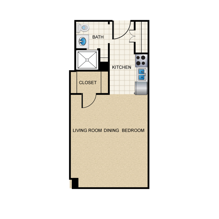 377 sq. ft. E1 floor plan
