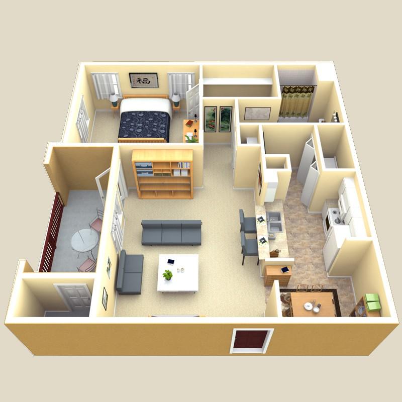 806 sq. ft. Sienna floor plan