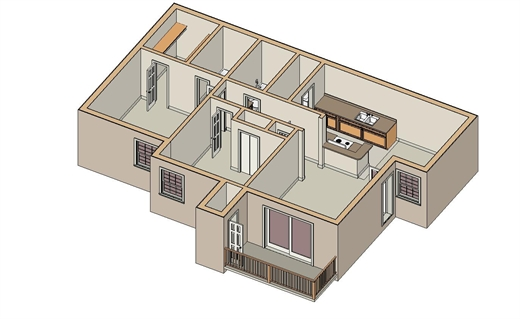 907 sq. ft. B-1 floor plan