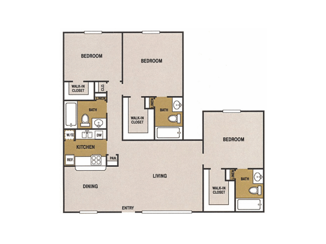 1,242 sq. ft. S floor plan