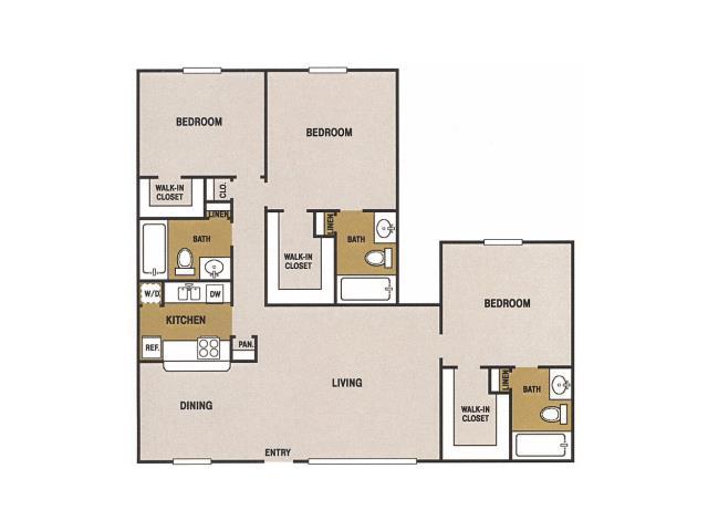 1,242 sq. ft. S floor plan