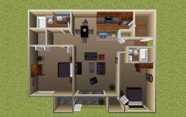 933 sq. ft. Redwood floor plan