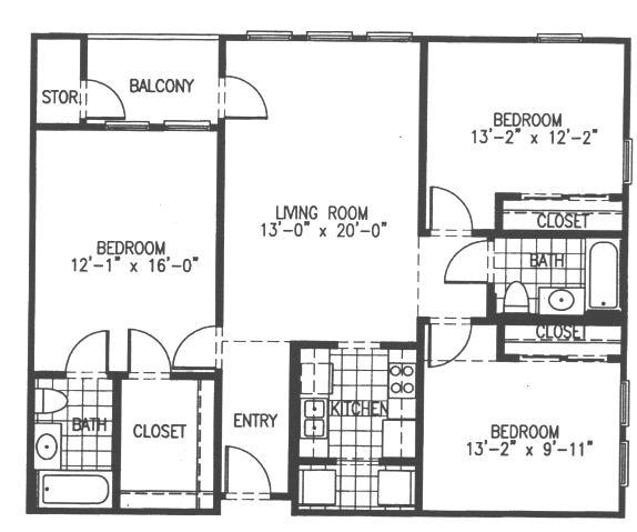 1,240 sq. ft. C2 floor plan