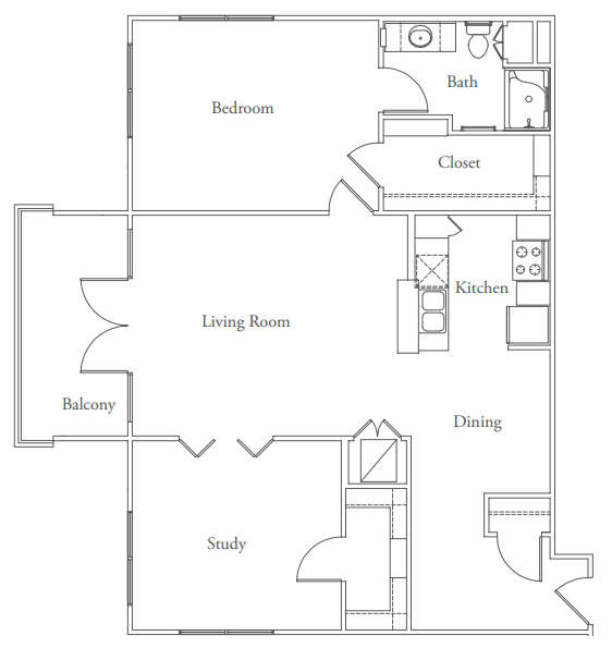 1,122 sq. ft. Tarrytown floor plan