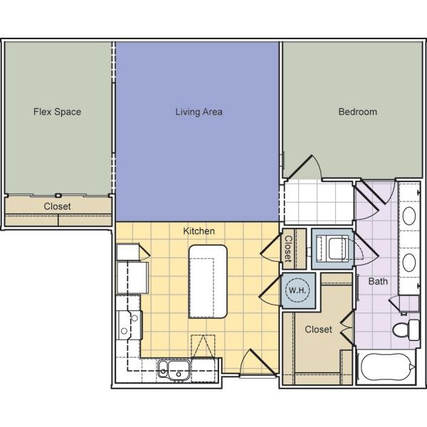 958 sq. ft. to 1,011 sq. ft. Broadway (A1F) floor plan
