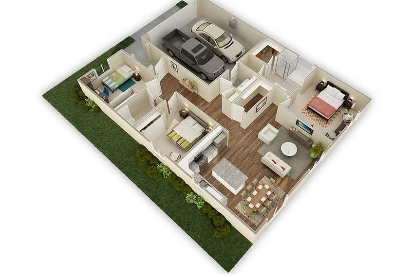 1,542 sq. ft. Oak floor plan