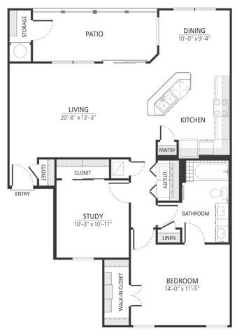 1,069 sq. ft. A6 floor plan