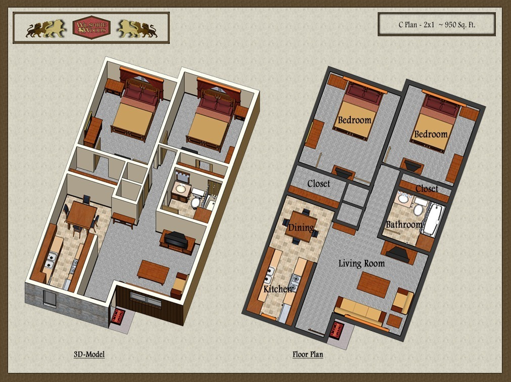 950 sq. ft. C2 floor plan
