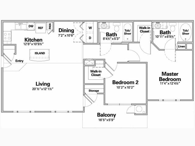 956 sq. ft. to 991 sq. ft. NARANCO/60% floor plan