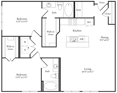 1,176 sq. ft. P floor plan