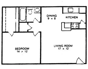 658 sq. ft. B floor plan
