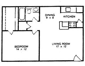 658 sq. ft. B floor plan