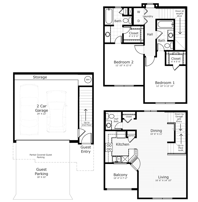 1,044 sq. ft. B4 floor plan