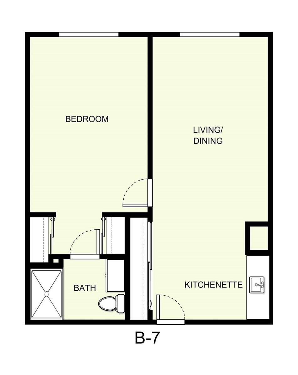 695 sq. ft. B7 floor plan