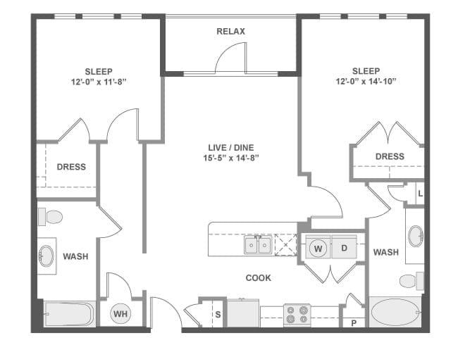 1,083 sq. ft. C4A floor plan