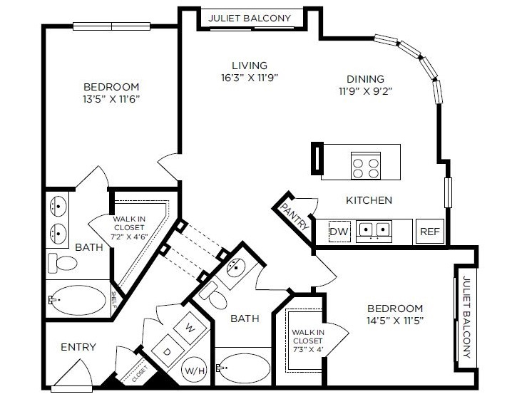 1,198 sq. ft. to 1,228 sq. ft. Knightsbridge floor plan