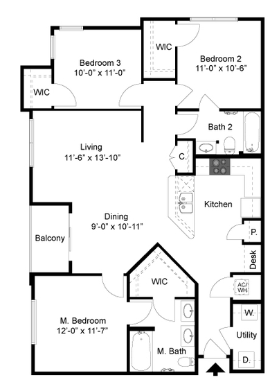1,189 sq. ft. C1 floor plan