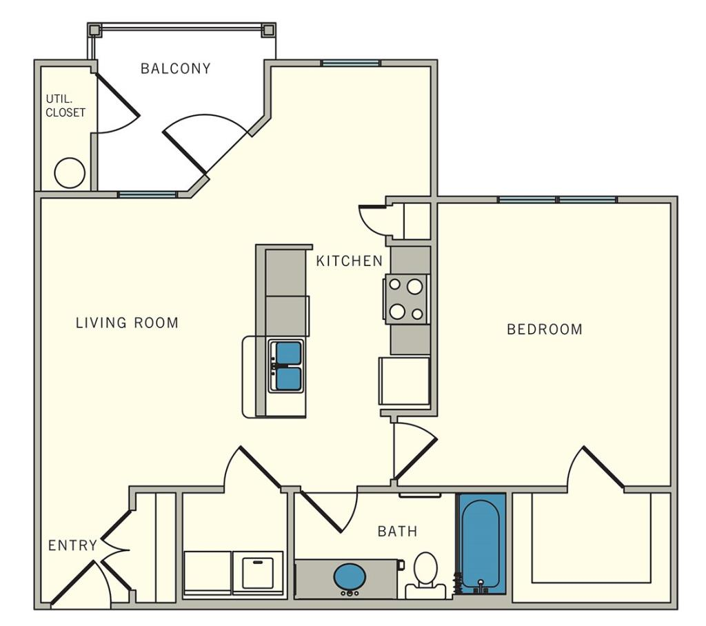 734 sq. ft. A3 floor plan