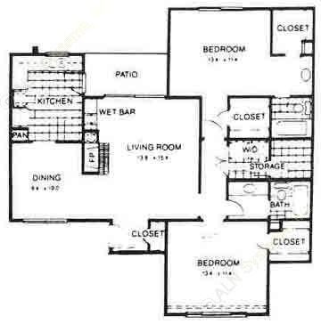 1,200 sq. ft. COLONIAL floor plan