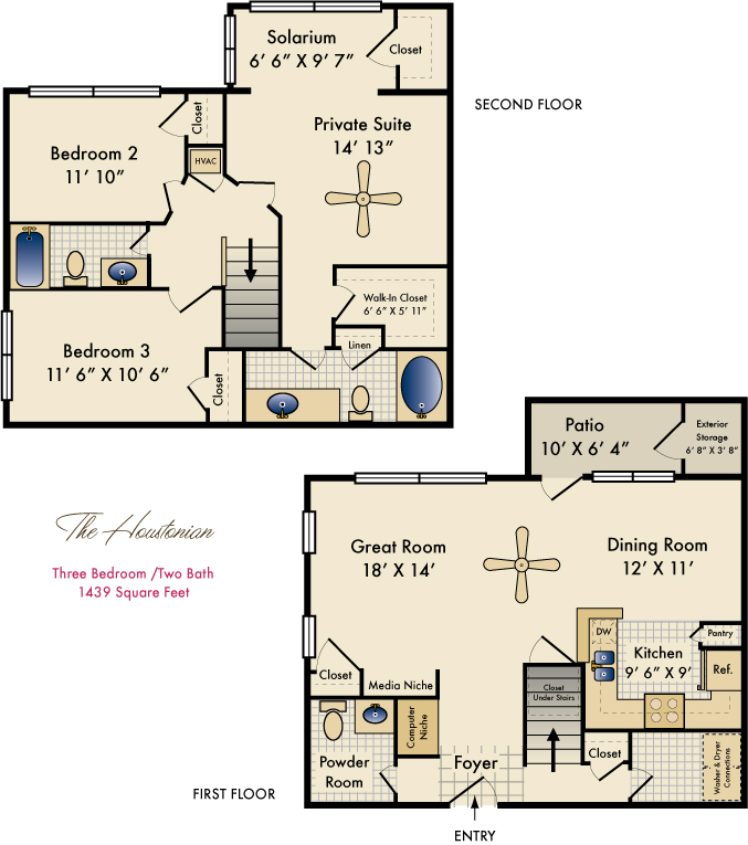 1,439 sq. ft. Houstonian floor plan