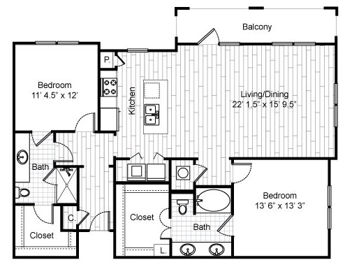 1,356 sq. ft. C7 floor plan