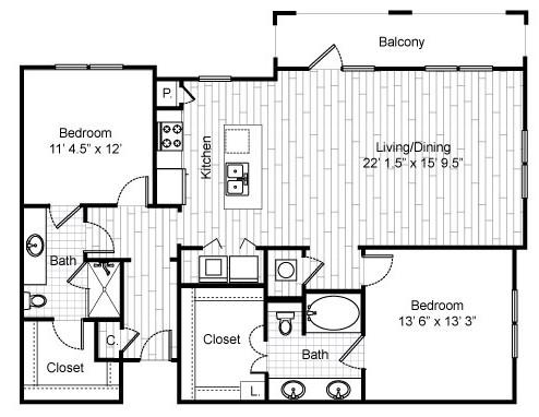 1,356 sq. ft. C7 floor plan