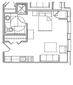 954 sq. ft. Mkt floor plan