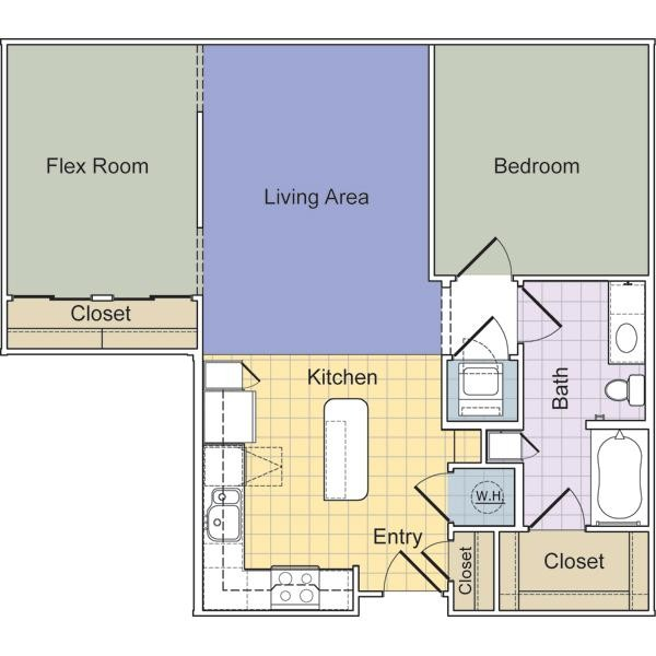877 sq. ft. to 889 sq. ft. Mercer (A1E) floor plan