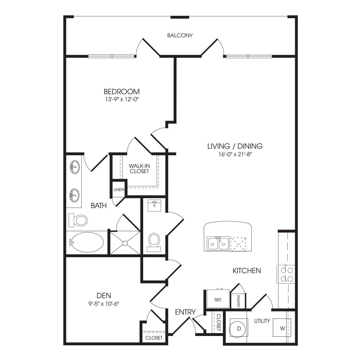 1,103 sq. ft. High Gate floor plan