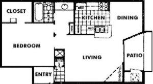 712 sq. ft. E floor plan