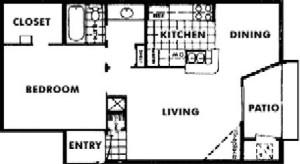 712 sq. ft. E floor plan