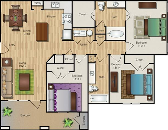 1,281 sq. ft. C1 floor plan