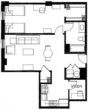 746 sq. ft. to 791 sq. ft. A9 floor plan