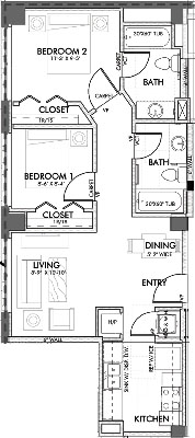 733 sq. ft. Texas.2 60% floor plan