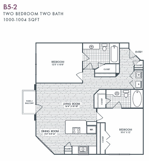 1,000 sq. ft. to 1,004 sq. ft. B5-2 floor plan