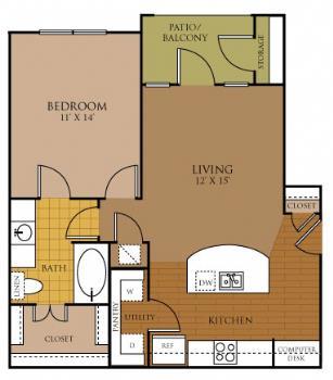 705 sq. ft. SPIRIT floor plan
