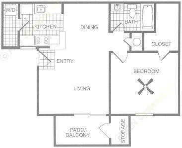 625 sq. ft. A3 floor plan